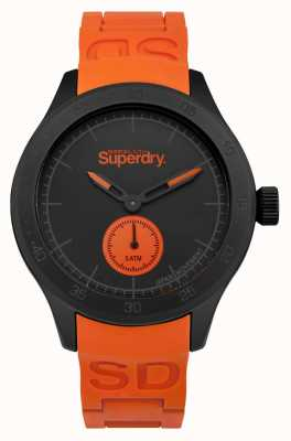 Superdry Scuba schwarzes Zifferblatt orange Silikonband SYG212OB