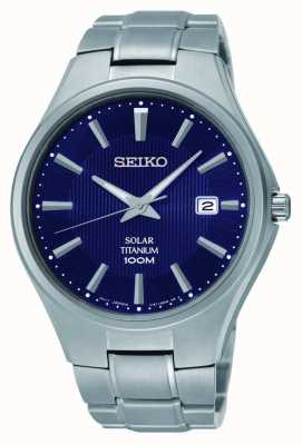 Seiko Titanium Datumsanzeige blaues Zifferblatt SNE381P9