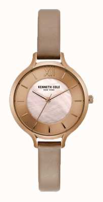 Kenneth Cole Womens Nude Zifferblatt Champagner Gehäuse Nude Lederband KC15187004