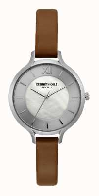Kenneth Cole New York Silber Zifferblatt dunkel braun Lederband KC15187005