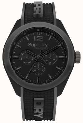 Superdry Navigator noblen schwarzen Silikonarmband grau Highlights SYG215EB