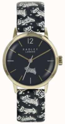 Radley Womans Volk Hund schwarz Zifferblatt Gold PVD Edelstahlgehäuse RY2570