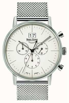 Bruno Sohnle Stuttgart Chronograph 42mm Quarz Edelstahl weißes Zifferblatt 17-13177-240