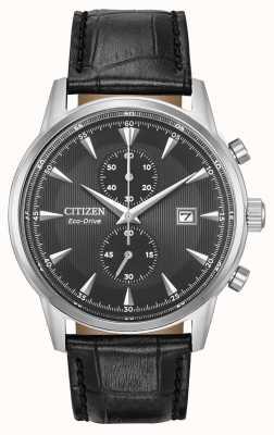Citizen Mens Corso Chronograph schwarzes Lederarmband schwarzes Zifferblatt CA7000-04H