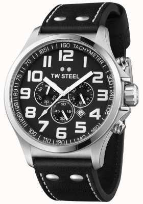 TW Steel Herren Pilot Chronograph schwarzes Lederarmband schwarzes Zifferblatt TW413