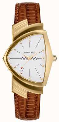 Hamilton Ventura goldfarbene braune Lederarmbanduhr H24301511