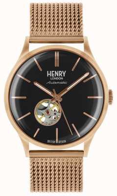 Henry London Mens Heritage Automatik Rose Gold vergoldet Mesh-Armband HL42-AM-0286