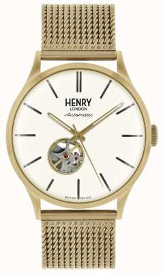 Henry London Mens automatische Goldton Mesh Armband weißes Zifferblatt HL42-AM-0284