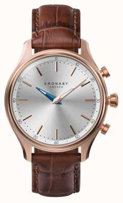 Kronaby 38mm sekel bluetooth roségold lederarmband smartwatch A1000-2748