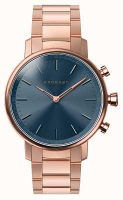 Kronaby 38mm Karat bluetooth Roségold Armband blaues Zifferblatt Smartwatch A1000-2445