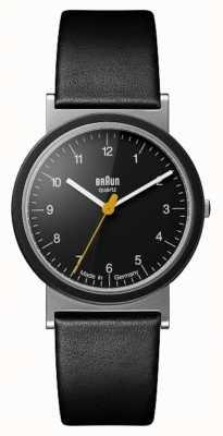 Braun Klassisches 1989 Tribut Design schwarzes Lederarmband schwarzes Zifferblatt AW10