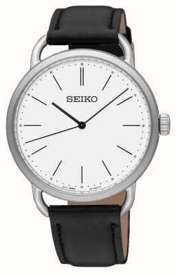Seiko Womens Rework Uhr schwarzes Lederarmband weißes Zifferblatt SUR237P1