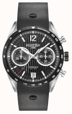 Roamer Superior Chrono II schwarzes Silikonarmband schwarzes Zifferblatt 510902415405