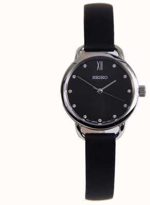 Seiko Klassisches Edelstahlgehäuse für Damen aus schwarzem Lederarmband SUR699P1