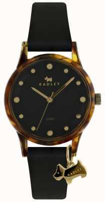 Radley Damen schwarzes 33mm Gehäuse schwarzes Zifferblatt schwarzer Hundeanhänger RY2640