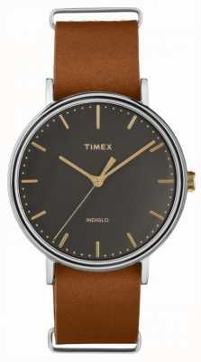 Timex Fairfield 41mm braunes Lederarmband Chromgehäuse TW2P97900