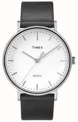 Timex Fairfield 41mm schwarzes Lederarmband / weißes Zifferblatt TW2R26300