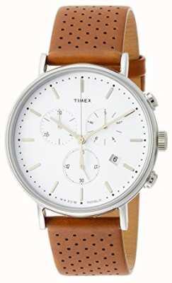 Timex Fairfield Chrono braunes Lederarmband / weißes Zifferblatt TW2R26700