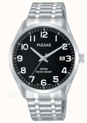 Pulsar Herrenarmbanduhr aus Edelstahl mit schwarzem Zifferblatt PS9563X1