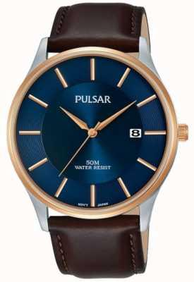 Pulsar Herren rosé vergoldetes Gehäuse schwarzes Lederarmband blaues Zifferblatt PS9546X1