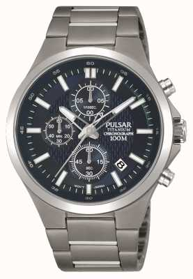 Pulsar Herren Titan Armband blau Chronograph Zifferblatt PM3109X1