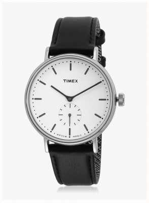 Timex Fairfield sub-second silvertone Fall weißes Zifferblatt schwarzes Band TW2R38000