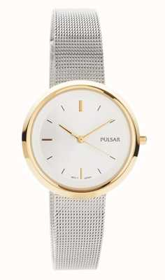 Pulsar Frauen | Edelstahlgewebe Armband | rundes goldgehäuse | PH8386X1