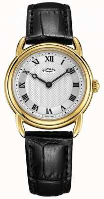 Rotary Damenuhr aus Leder in Canterbury schwarz mit goldener Prägung LS05338/21