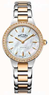 Rotary Frauen Kensington Roségold zwei Tonstein Set Uhr LB05277/41