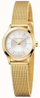 Calvin Klein Minimalistisches Goldarmband für Damen weißes Zifferblatt K3M23526