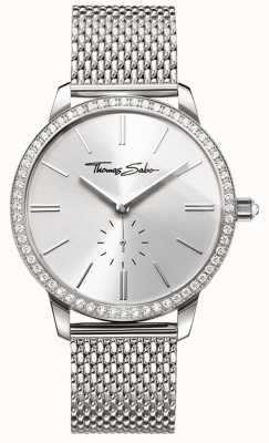 Thomas Sabo Womens Glam und Seele Glam Spirit Watch Silber Mesh Armband WA0316-201-201-33