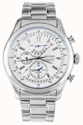 Seiko Alarm Chronograph Uhr Silberarmband weißes Zifferblatt SPC123P1