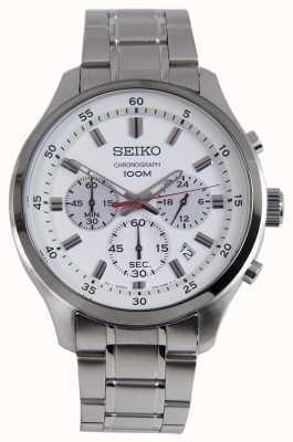 Seiko Herren Sport Chrono Uhr Silber Armband weißes Zifferblatt SKS583P1