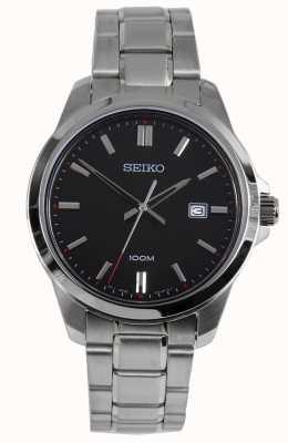Seiko Herren Kleid Uhr Silberarmband schwarzes Zifferblatt SUR245P1