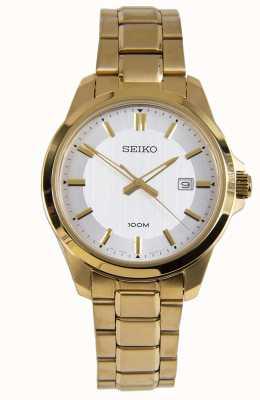 Seiko Herren Kleid Uhr Goldarmband weißes Zifferblatt SUR248P1