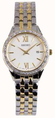 Seiko Damen zweifarbig silberne und goldene Kleideruhr SUR690P1