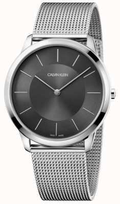 Calvin Klein Mens minimal silbernes Edelstahlarmband schwarzes Zifferblatt Uhr K3M2T124