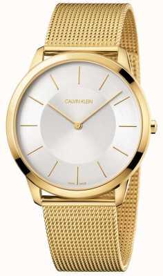 Calvin Klein Mens minimal gelb Gold Mesh Armband Silber Zifferblatt Uhr K3M2T526