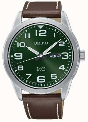 Seiko Herrenuhr braunes Armband grünes Zifferblatt SNE473P1