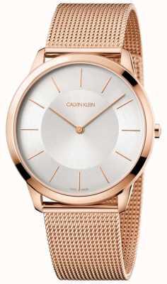 Calvin Klein Mens minimal Roségold Mesh Armband Silber Zifferblatt Uhr K3M2T626