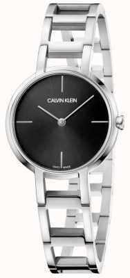Calvin Klein Damen Cheers Silber Edelstahl schwarz Zifferblatt Uhr K8N23141