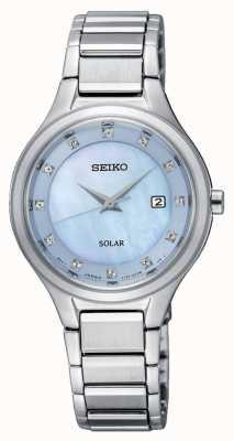 Seiko Womens Coutura Solar Silber Armband hellblaues Zifferblatt SUT351P9