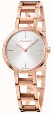 Calvin Klein Damen Cheers Rose Gold PVD vergoldet Uhr Silber Zifferblatt K8N23646