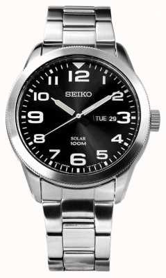 Seiko Herren Solar Silber Armband schwarzes Zifferblatt SNE471P1