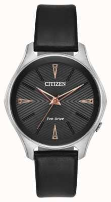Citizen Damen schwarz Leder Modena Eco-Drive-Uhr EM0591-01E