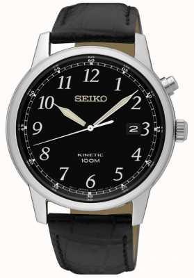 Seiko Herren kinetic nalog Uhr schwarzes Armband und schwarzes Zifferblatt SKA781P1
