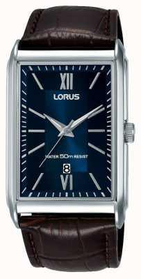 Lorus Rechteckige Herrenuhr braunes Lederarmband blaues Zifferblatt RH911JX9