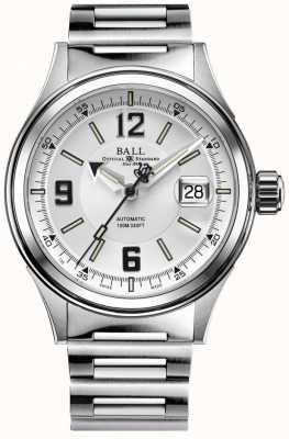 Ball Watch Company Fireman Racer automatisches Edelstahlarmband weißes Zifferblatt NM2088C-S2J-WHBK