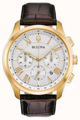 Bulova Klassisches braunes Lederarmband für Herren 97B169
