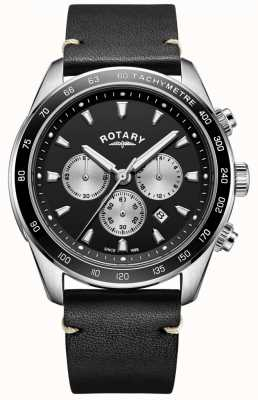 Rotary Mens Henley Uhr schwarzes Chrono Zifferblatt schwarzes Lederarmband GS05115/04